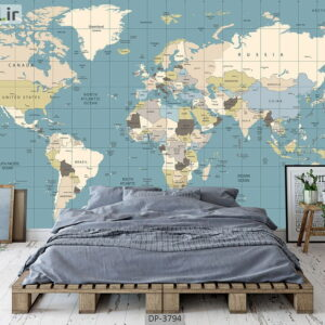 پوستر دیواری طرح نقشه جهان 3794-DP