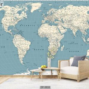 پوستر دیواری طرح نقشه جهان 3818-DP