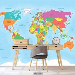 پوستر دیواری طرح نقشه جهان 3830-DP