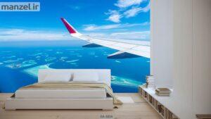 پوستر دیواری طرح هواپیما و دریا ۳۸۳۴-DA