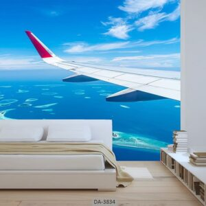 پوستر دیواری طرح هواپیما و دریا 3834-DA
