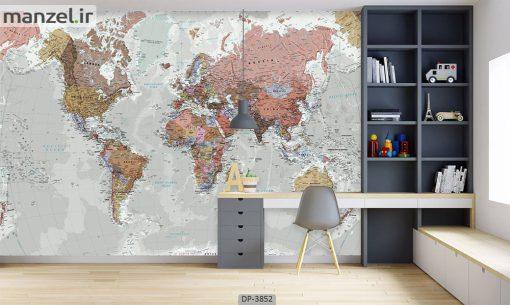 پوستر دیواری طرح نقشه جهان 3852-DP