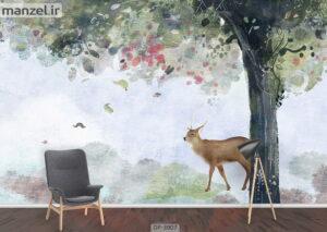 پوستر دیواری طرح گوزن و درخت ۳۹۰۷-DP