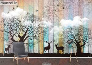 پوستر دیواری طرح گوزن و درخت ۳۹۱۸-DP