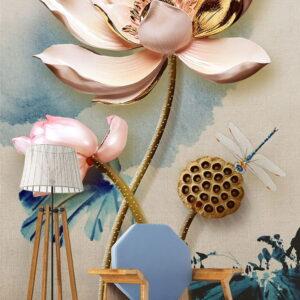 پوستر دیواری طرح گل فانتزی 3962-DP