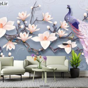 پوستر دیواری طرح گل و طاووس 3990-DP