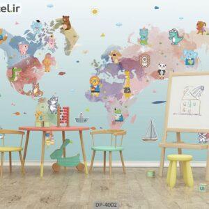 پوستر دیواری نقشه جهان طرح کودک 4002-DP