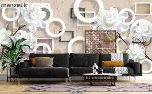 پوستر دیواری طرح گل و اشکال هندسی ۴۰۴۳-DP