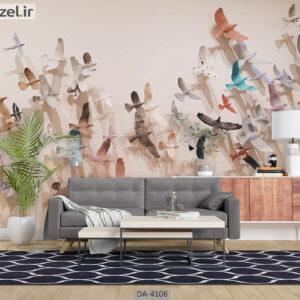 پوستر دیواری طرح پرندگان 4106-DA