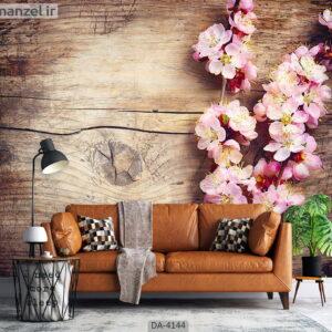پوستر دیواری طرح گل و چوب 4144-DA