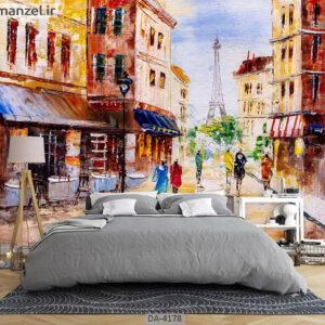پوستر دیواری نقاشی فانتزی شهر پاریس 4178-DA