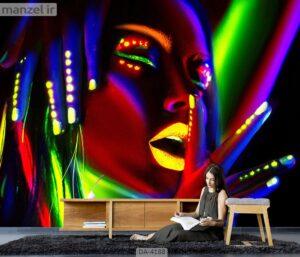 پوستر دیواری طرح چهره و فشن ۴۱۸۸-DA