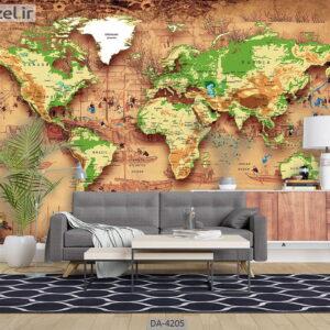 پوستر دیواری طرح نقشه جهان 4205-DA