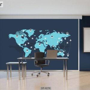 پوستر دیواری طرح نقشه جهان 4274-DP