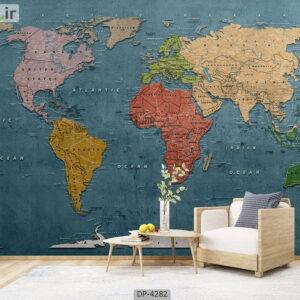 پوستر دیواری طرح نقشه جهان 4282-DP