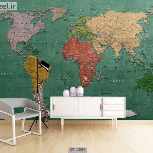 پوستر دیواری طرح نقشه جهان 4283-DP