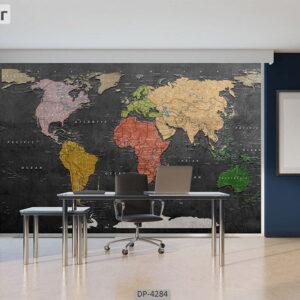پوستر دیواری طرح نقشه جهان 4284-DP