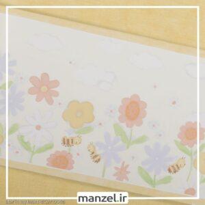 بوردر کاغذ دیواری طرح گل و زنبور کد bq271004b