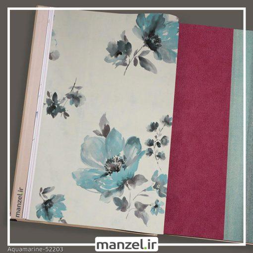 کاغذ دیواری گلدار Aquamarine کد 52203