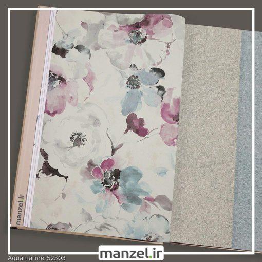 کاغذ دیواری گلدار Aquamarine کد 52303