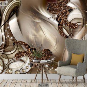 کاغذ دیواری سه بعدی لاکچری گل قهوه ای DA-4845