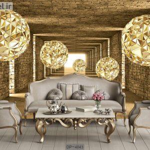 کاغذ دیواری سه بعدی لاکچری گوی های طلایی DP-4843