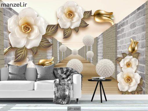 پوستر دیواری سه بعدی گل DP-4846