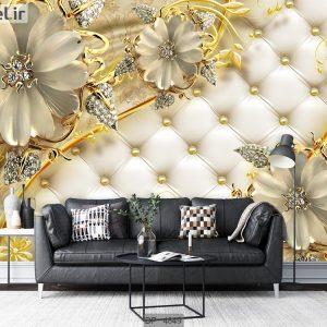 کاغذ دیواری سه بعدی گل طلایی DP-4849