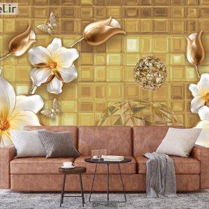 کاغذ دیواری سه بعدی گل طلایی DP-4850